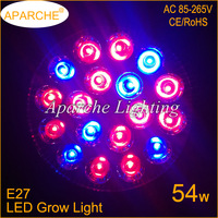 Wholesale 54W E27 12 Red and 6 Blue LED Grow Light for Flowers,Plants and Hydroponic Systems High Brightness LED Grow Lamps