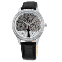 Free Shipping Women's 3colors Genuine Leather Watch Diamond Christmas Tree Design Dress Watches Quartz Watch,30M Water Resistant