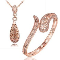 Free shipping! Ladies elegant crystal jewelry sets, Simple casual fashion jewelry set