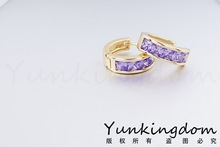 Free shipping 18 K Gold Filled purple Cubic zirconia Hoop Earring Gorgeous Beautiful Women for Earrings