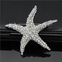 Rhinestone Brooch Shiny Starfish Shapes Bridesmaid Flower Girl Wedding Fashion jewelry C1391