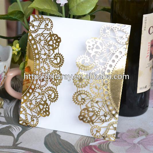 """Cartões de casamento elegantes para decorações do casamento """" flores de renda """" ouro laser cut convites de casamento do vintage(China (Mainland))"""