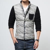 High Quality Winter Stand Collar Jacket Men Outerwear Fashion Knitted Sleeve Patchwork Men Jacket Plus Size M-5XL Men Coat