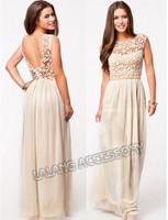 2014 Bestselling Fashion Women Summer Sleeveless  White Top Crochet Sexy Chiffon Maxi Dress Full dresses CX850931