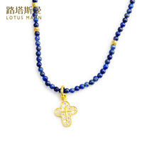 Lotus Mann Mini natural lapis lazuli silver plated cross pendant necklace Europe and the United States holiday gifts