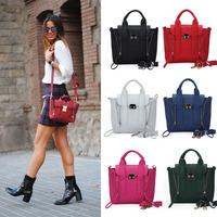 Special Offer! 2014 Hot Selling PU Lady's Fashion Handbag Classic Design  double side zipper women tote shoulder bag multicolour