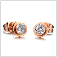 Factory Price!Rose Gold Plated Stainless Steel Stud Earrings For Women Girl,Fashion Jewelry Shinning Crystal Drill Party Gift