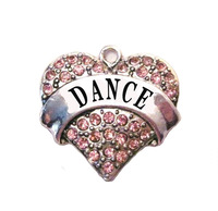 free shipping 20pcs a lot rhodium plated fashion DANCE Crystal Heart Family Pendant(P100176)