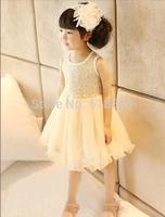 2014 Summer Children Girl's Clothing Korean Sweety Girls Sleeveless Sequins Sparkling Dresses Princess Veil Tulle Tutu Dress