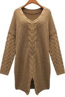 Fashion Textured Knitwear Khaki Women Sweater Dress Autumn Winter Stylish Casual Style B7128Z Fshow