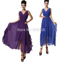 New 2015 Spring Summer Women V-Neck Solid Chiffon Sleeveless Ruffles Big Swing Maxi Dress Casual Party Vestidos YT1082