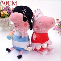 "2Pcs/Set Peppa Pig Stuffed Plush Baby Toys 12"" 30CM Ballet Peppa Pig Pirate Geroge Pig Plush Dolls Toy Children Christmas Gift"