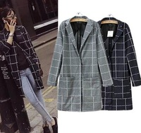 2015 Casual European Style Women Long   Plaid Coat Famous Brand Jacket Turn-Down Collar Spring Autumn Winter Outwear CL2316