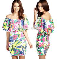 2015 Summer Women Slim Slash Neck Tropical Print Ruffles Bodycon Mini Dress Hawaii Holiday Beach Party Casual Vestidos YT1070