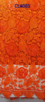 African lady for making dress embroidery water soluble with sequins Lace with high quality CL4085 orange