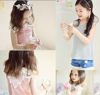 kids lace korean girl doll autumn girls lace sleeve t-shirt large crochet girls lace top clothes 5pcs/lots