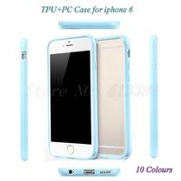 2pcs/Lot Candy Colour Matte PC+TPU Case for i phone 6, Free Shipping
