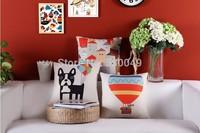 Free shipping 18''X18'' Creative cartoon House Dog Hot Air Balloon cotton and linen sofa office cushion pillow cover