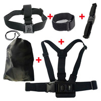 Hot sale! Gopro Accessories Chest Belt+WiFi Remote Wrist Belt+Head Strap Mount+Helmet Strap+Bag Gopro Hero3+ 3 2 Black Edition