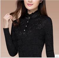 2014 winter women's slim plus velvet thickening turtleneck long-sleeve lace basic shirt female top 13