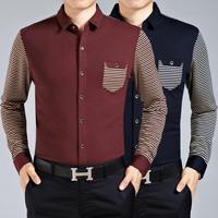 M9010 New Spring Autumn Long Sleeve Shirt Men's Long Sleeve Shirt Big Yards Splicing High-End Men Business shirt
