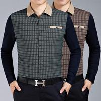 M9001 New Spring Autumn Long Sleeve Shirt Men's Long Sleeve Shirt Big Yards Grid Splicing High-End Men Business shirt