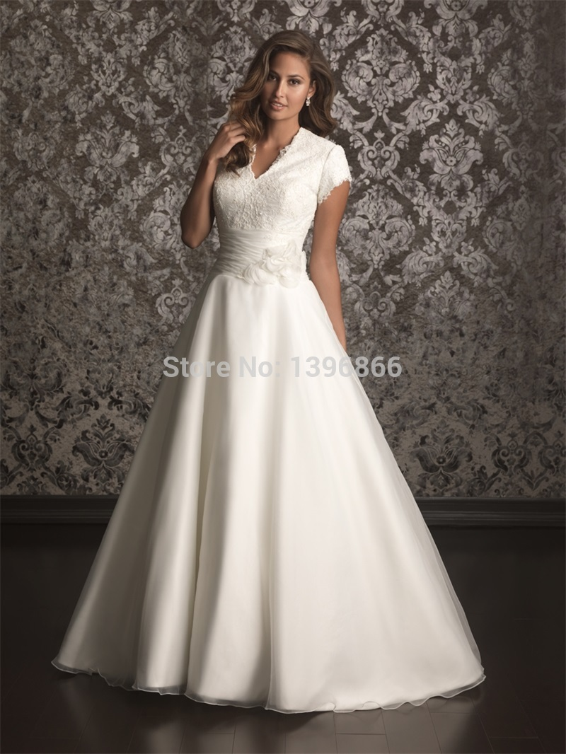 Princess ball gown wedding dress short sleeve 2015 v neck for Short sleeved wedding dress