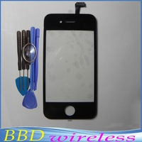 Front Glass Lens + Touch Screen Digitizer For iPhone 4 4S 4G Replacement for Lcd Screen + Special Tools Black