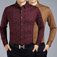 M9023 New Spring Autumn Long Sleeve Shirt Men's Long Sleeve Shirt Big Yards Argyle High-End Men Business shirt