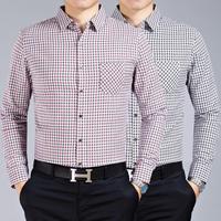 M9027 New Spring Autumn Long Sleeve Shirt Men's Long Sleeve Shirt Big Yards Plaid High-End Men Business shirt
