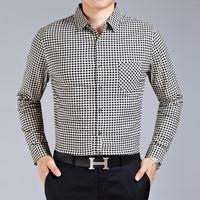M9028 New Spring Autumn Long Sleeve Shirt Men's Long Sleeve Shirt Big Yards Plaid High-End Men Business shirt