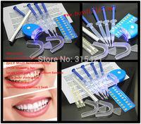 50Packs/lot Teeth Whitening Kit 4Pcs 0.1%-44% 3ml Whitening Gel+2 Mouth Trays+1 Light+1 Whitening Pen+2 swab+1 Shade guide MY365