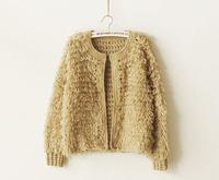 0148  Japanese style circle yarn handmade knitting cardigan yarn circle design short outerwear sweater