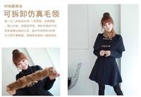 Women Cute Fashion Detachable Faux Fur Blue Coak Thick Warm Winter Coat Free Shipping 3337