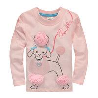 2014 New Design Tops Tees Girls Dogs T-shirt Children's Animals Clothing Kids Long Sleeve t-shirt Baby Flowers tshirts