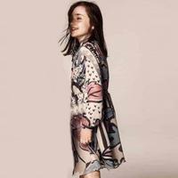 2014 news Girls clothing Floral print silk dress kids dress children dress baby clothing