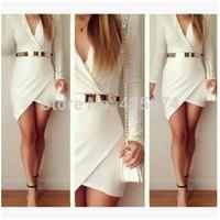 2015 long sleeve bandage women dress Mini Asymmetric sexy dress feminine white casual dress Without Belt  w466