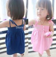 Joy Chang's new 12M-3A 5pcs/lot kids sleeveless Dress, girls' suspender Dresses quality clothing 2 colors