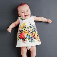 2014 news Girls clothing printed Sleeveless dress kids dress children dress baby clothing