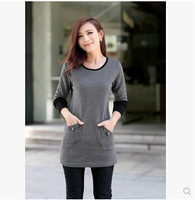 free shipping !  female loose long sleeve T shirt women's autumn winter plus size clothing 4XL girl's solid casual tops