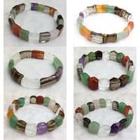 6pc mix designs color  nature Mix crystal Amethyst Green aventuriine Tiger eye  stretched adjustable bracelet bangle DCB21-27