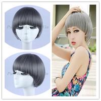 free shipping + free wig cap high quality wig  fashion gray  BoBo  cosplay wig