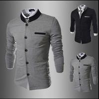 2014 New Brand Men's Blazer Casual Jacket Men Slim Fit Suit Fashion Coat Cotton Jackets For Men 2 Color Size:M-XXL Free Shipping