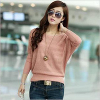 women's spring and autumn  cutout large size loose sweater batwing sleeve sweater outerwear