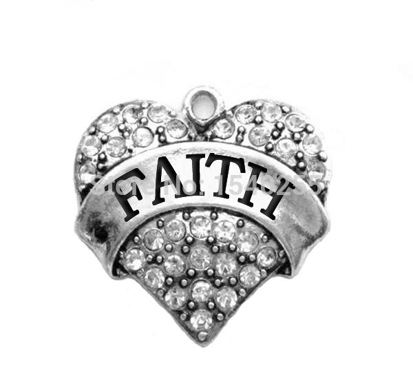"Wholesale Rhodium Plated 100PCS/lot Heart Shape With Crystal ""Faith"" Charms(China (Mainland))"