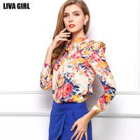 2015 autumn new women long sleeve fashion chiffon shirt sexy slim plus size S M L XL floral top 2 color ladies work blouses