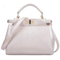 Women Peekboo Mini Bag Elegant Aligator Pattern Tote Fashion Women Shoulder Bag PU Leather Messenger Bags Stone Pattern Bolsas