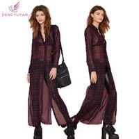 Roupas Blusas Femininas High Street Fashion New Women Blouses Turn-down Collar Long Plaid Sexy Blouse Woman Clothes Dropshipping