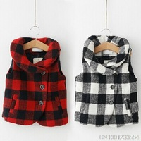 New fashion casual plaid autumn and  winter girl's  single breasted vest for 3-10years 120902