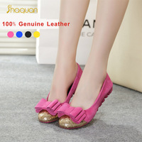 Promotions!!New 2014 Women genuine Leather Shoes Slip-on Ballet women Flats Comfort Anti-skid woman Shoes 4 Colors moccasins